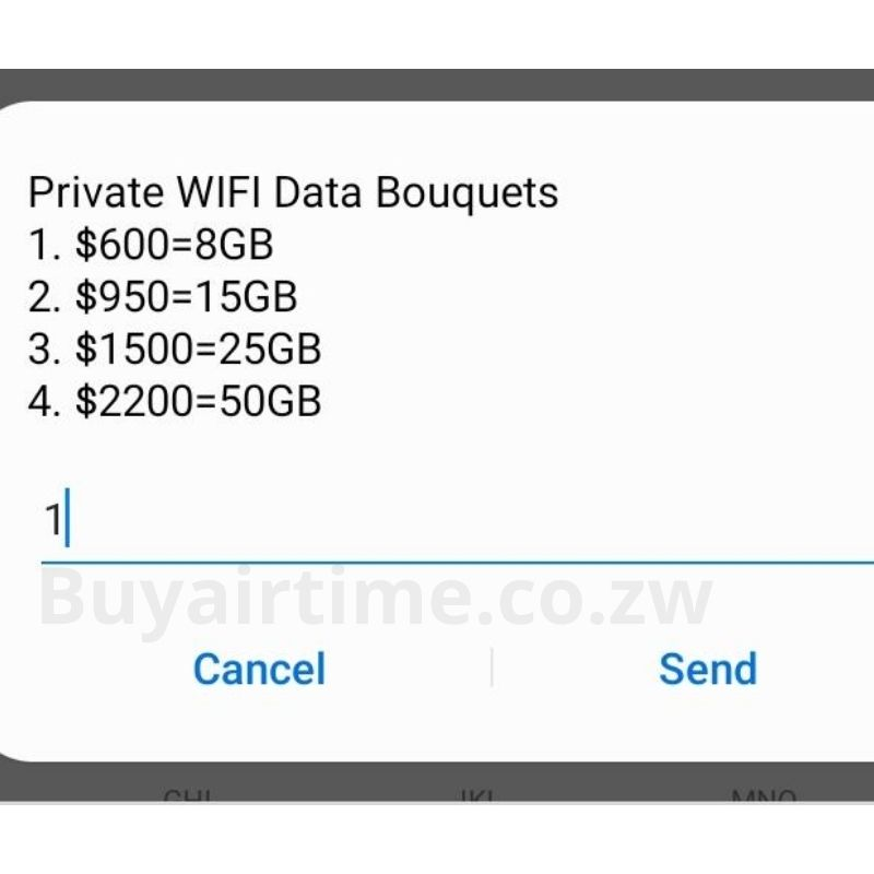 Select Econet private WiFi data bouquet of preference