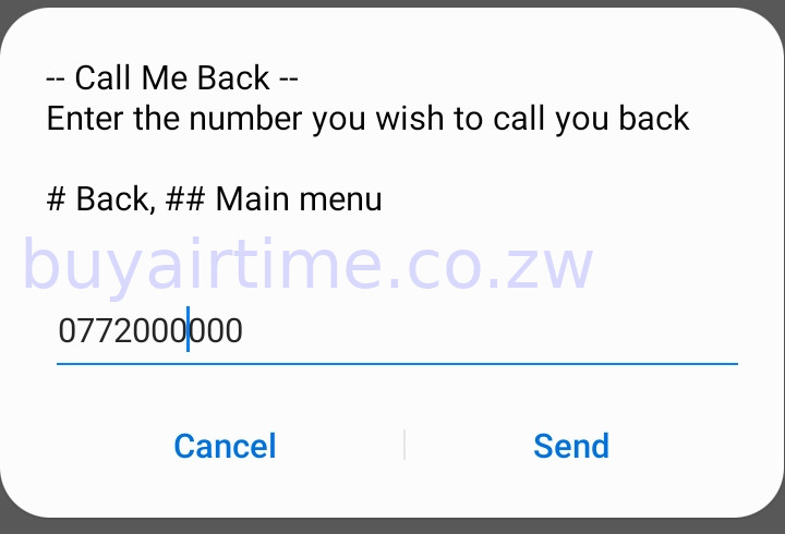 Enter the number that you want to call you. Can be any number including other networks as shown in this screenshot